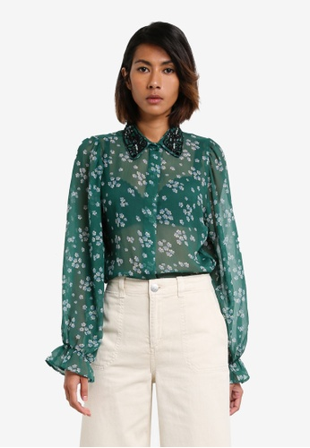 TOPSHOP green Beaded Collar Shirt TO412AA0RY2QMY_1