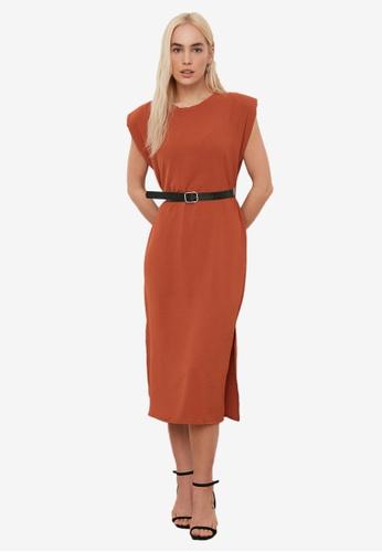 Trendyol brown Padded Shoulder Midi Belt Dress 1BA66AAC144C73GS_1