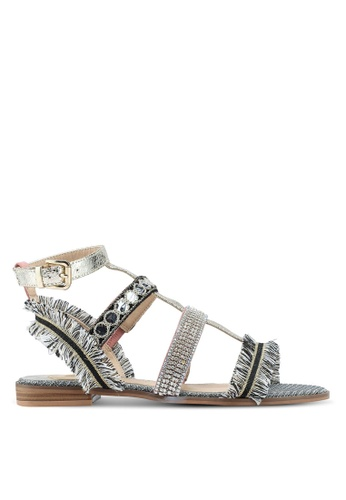 River Island silver Metallic Fringe Diamante Embellished Sandals 5DEE1SHDA15999GS_1
