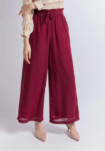 Love Knot red Cozy Wide Leg Culottes (Plum) 030F6AA0EEEF8AGS_1