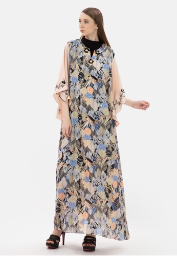 MKY Clothing pink MKY Flower Printed Flare Sleeve Gamis Dress D8FC7AACA0A3FEGS_1
