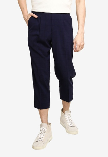 GLOBAL WORK navy Woven Cropped Trousers F8919AA3758485GS_1