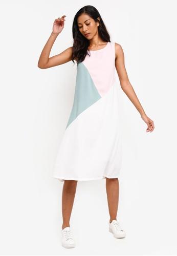 ZALORA BASICS multi Basic Triangle Colourblock Dress 26260AA04E06D3GS_1