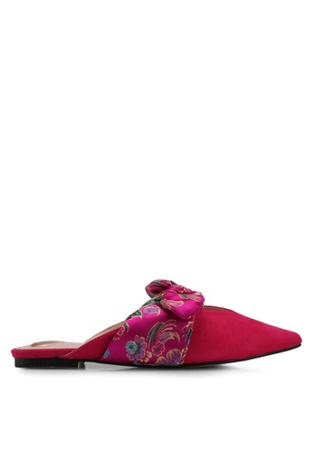 Velvet pink Floral Jacquard Mules 20C20SHE96544DGS_1