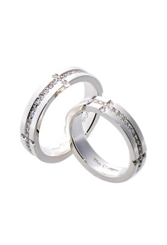 Prosperity Silver Couple Ring with Artificial Diamonds lr0029