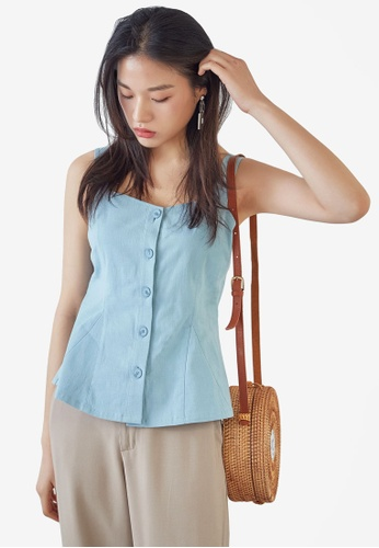 NAIN blue Button Down Bustier Top 96418AA75A6ABDGS_1