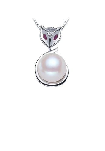 Glamorousky white 925 Sterling Silver Fox Pendant with Freshwater Pearl and Necklace 29D13AC4630D5FGS_1