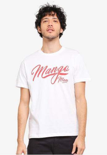 MANGO Man white Printed Cotton T-Shirt MA449AA0T1E3MY_1
