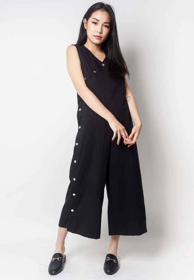 Side Black Midi 2nd Edition Jumpsuit ZOEY Button EO1qO