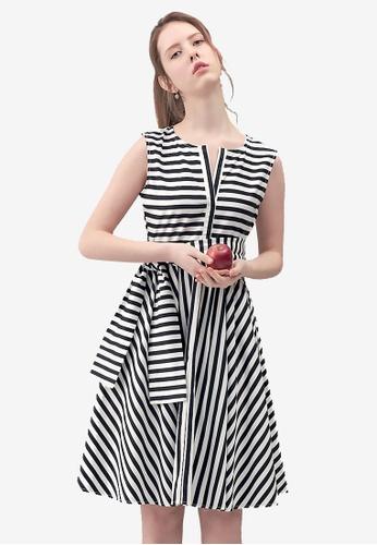 Kodz black Striped A-line Dress 4F56DAA27F83C1GS_1