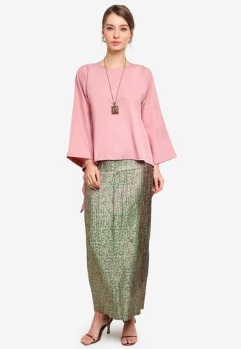 Yans Creation pink Adara Kurung Pleated 22E75AA305578FGS_1