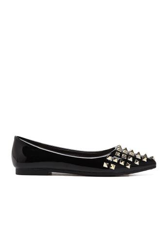 Sunnydaysweety black 2017 New Rivet Pointed Flat Shoes A031610BK SU443SH86PEZHK_1