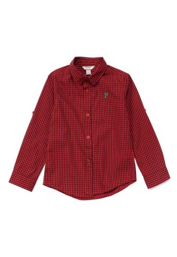 PONEY red Poney Joseph Red Checkered Cotton Poplin Long Sleeve Shirt C618AKA45B433BGS_1