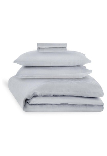 Sunday grey French Linen Sheet Set in Cloudy Grey. 7B5F5HL5EA1A47GS_1