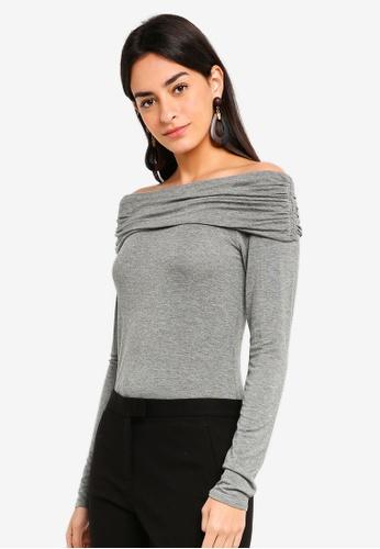 Max Studio grey Knit Long Sleeve Top 9FA4FAA64307B9GS_1