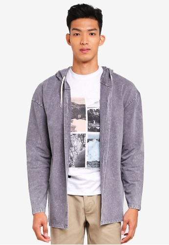 Jack & Jones grey More Sweat Hooded Cardigan 79713AADE77469GS_1