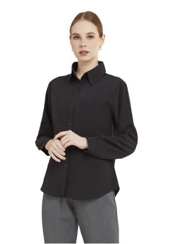 Evernoon black Kemeja Kerja Polos Plain Wanita Lengan Panjang Reguler Fit Premium Quality - Black 673C1AA485391CGS_1