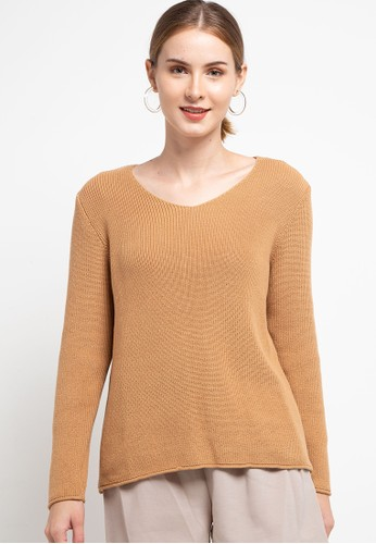 COME brown V-Neck Sweater 58E63AA51D5E8CGS_1