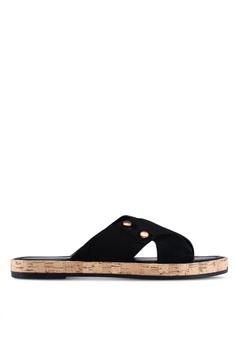 8b35bd88cbdfa0 River Island black Suede Cross Straps Sandals 775F7SH518509AGS 1