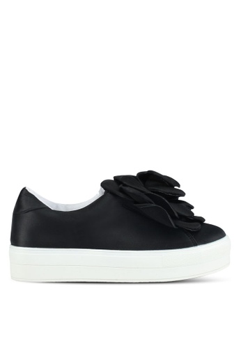 LOST INK black Seline Oversized Flower Plimsolls B213BSH83D60C4GS_1