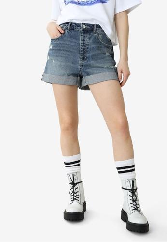 PIMKIE blue High Waist Denim Shorts A048BAA1555867GS_1