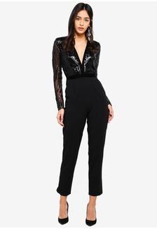 f85fbcb9f76 Stephanie Pratt - Deep V Neck Sequin Embroidered Jumpsuit 0D9AEAA6F5E468GS 1