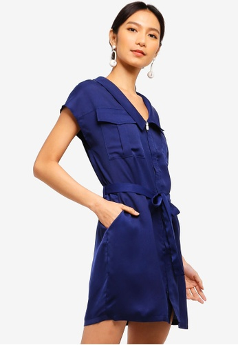 ZALORA blue Sleek Satin Utility Dress C2DD8AA3DC6C18GS_1