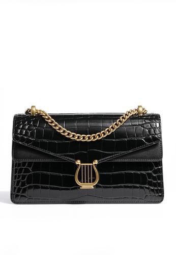 Twenty Eight Shoes black VANSA Retro Crocodile Leather Crossbody Bag VBW-Cb80361 2B7F4AC40EC781GS_1