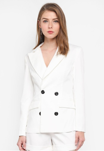MISSGUIDED white Crepe Double Breasted Blazer DC60DAADE9E6B3GS_1