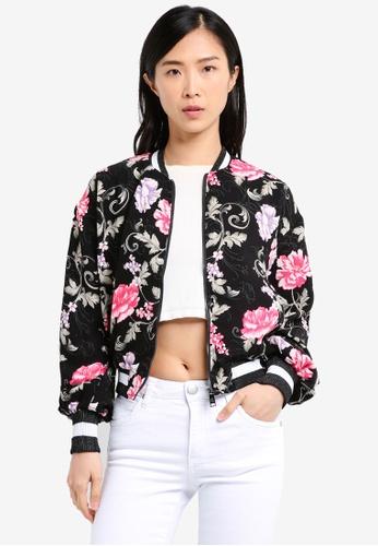 Cotton On black Candice Blouson Sleeve Bomber Jacket CO372AA0SXKNMY_1