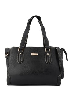 Unisa Duo-Textured Trapeze Convertible Shoulder Bag