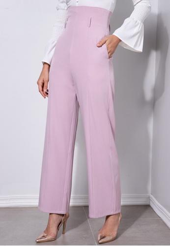 ZALORA OCCASION pink High Waisted Wide Leg Pants 4C16EAA6BA6FB2GS_1