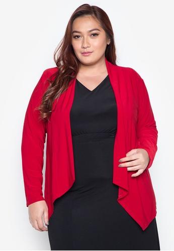 Curvy red Plus Size Caitlin Long Sleeves Plain Drape Cardigan CU774AA0IVY9PH_1