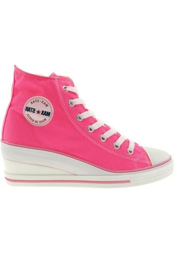 Maxstar Maxstar Women's 7H Zipper Canvas Low Wedge Heel Sneakers MA164SH64PVRSG_1