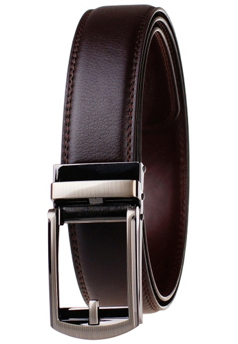 FANYU brown Leather Dress Belt With Automatic Buckle belt BC76BAC3A2A4A5GS_1