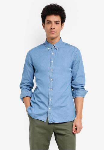 MANGO Man 藍色 長袖牛仔襯衫 4E494AA82F05DFGS_1