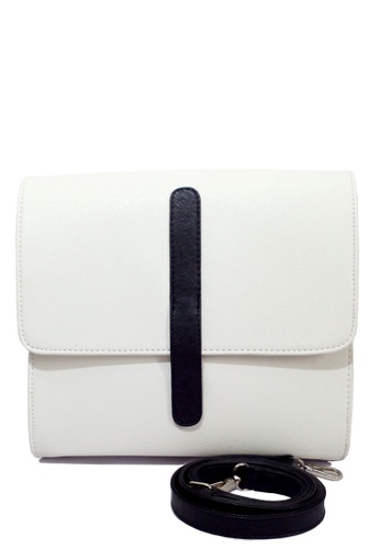 Louiebelle Collection white Marckie Satchel Bag LO122AC29NUSPH_1