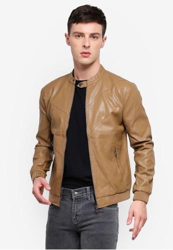 High Cultured brown Biker Jacket 59 7F236AA802C42DGS_1
