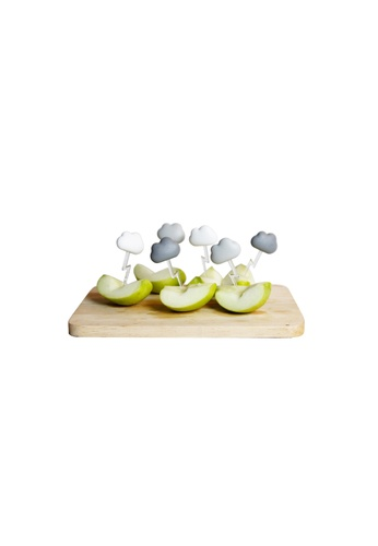 Qualy Qualy Cloud Party Pick Set (White and Grey) B4B74HLE844B04GS_1