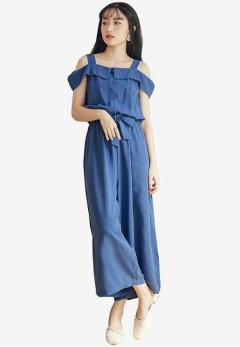 47b3516311c Buy Tokichoi Cut Off Shoulder Tie Jumpsuit Online | ZALORA Malaysia