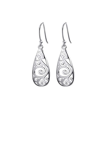 Glamorousky silver 925 Sterling Silver Simple and Elegant Cutout Earrings 5E5BEAC4CF1AF0GS_1