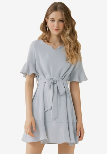 Eyescream grey Flare Sleeves Waist Tie Dress 3938DAA9488E5EGS_1