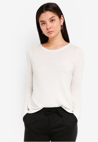ICHI white Rillo O Long Sleeves 08EE4AAF325395GS_1