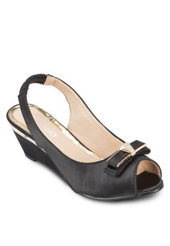 蝴蝶結露趾繞踝楔型鞋, 女鞋, 魚口esprit旗艦店楔形鞋