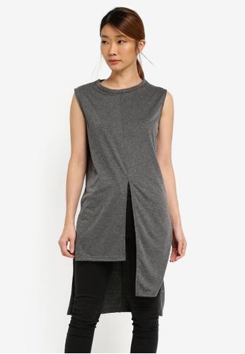 Something Borrowed grey Asymmetric Slit Top 2EBEAZZF77A192GS_1