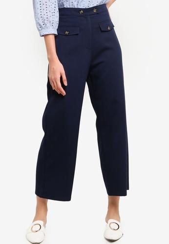ZALORA BASICS navy Front Pocket Detail Pants C429DAA9D5E973GS_1