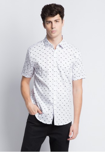 Kent & Crew white KENT&CREW PRINTED SHORT SLEEVES SHIRT 60FFFAA5F08F00GS_1