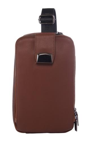 KRIZO brown LEXQ Men's Shoulder Sling Chest Pouch Bag C59F2AC0EDD138GS_1