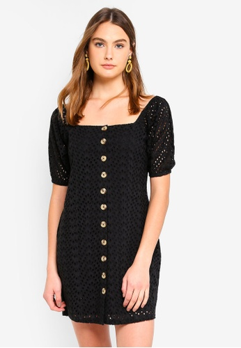 Cotton On black Woven Broderie Baby Doll Dress F8668AA596A64CGS_1
