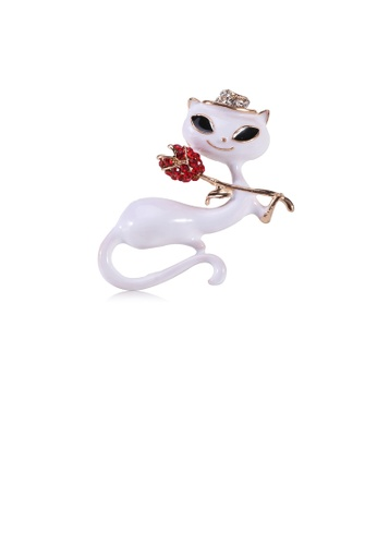 Glamorousky red Simple and Cute Plated Gold White Cat Brooch with Red Cubic Zirconia A513AACB5CA192GS_1